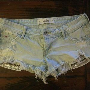 Hollister Distressed Studded Denim Shorts